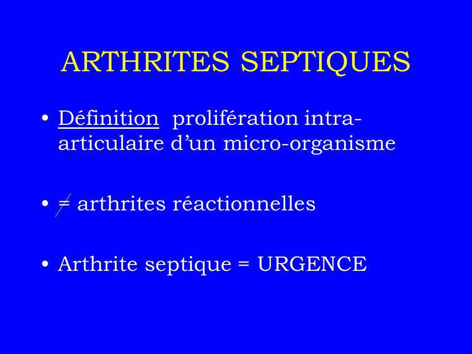 ARTHRITES SEPTIQUES Définition prolifération intra-articulaire d'un micro-organisme. = arthrites réactionnelles.