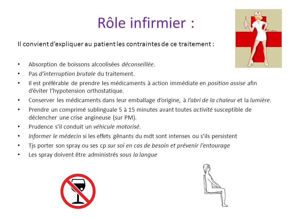 Rôle infirmier : Il convient d'expliquer au patient les contraintes de ce traitement : Absorption de boissons alcoolisées déconseillée.