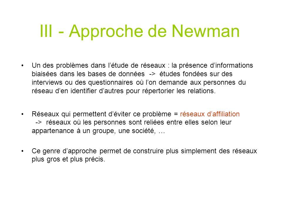 III - Approche de Newman