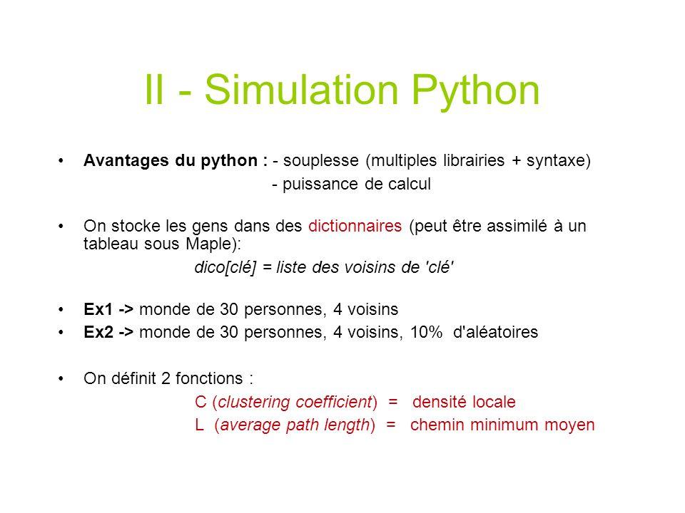 II - Simulation PythonAvantages du python : - souplesse (multiples librairies + syntaxe) - puissance de calcul.