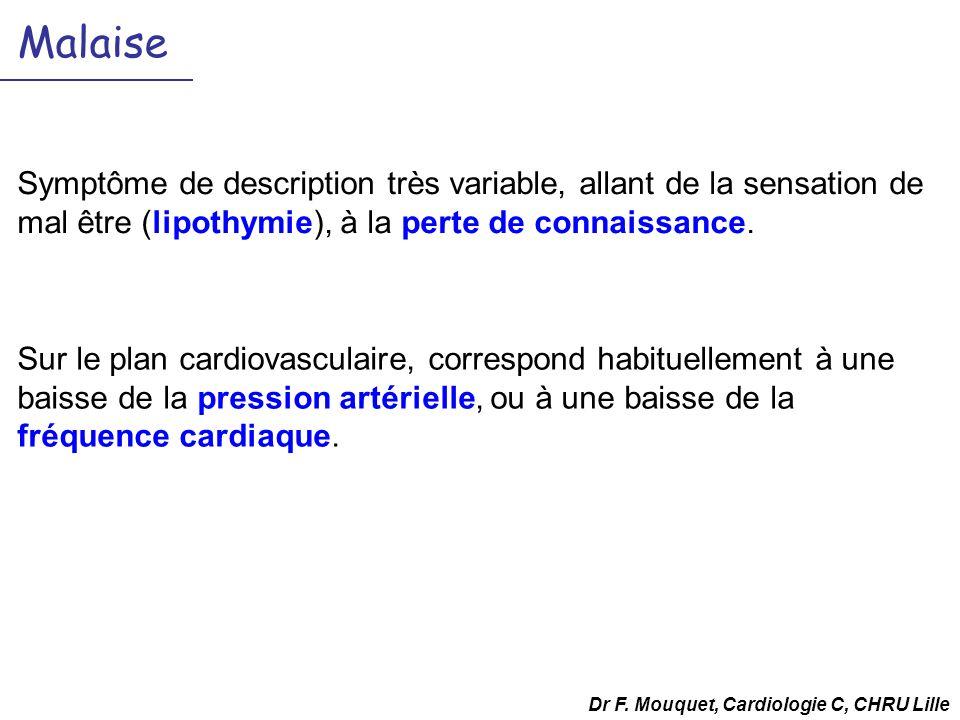 Malaise Symptôme de description très variable, allant de la sensation de mal être (lipothymie), à la perte de connaissance.