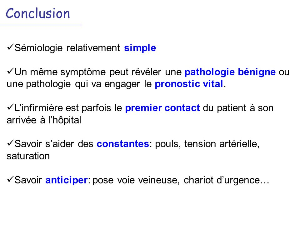 Conclusion Sémiologie relativement simple