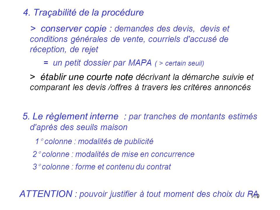 4. Traçabilité de la procédure