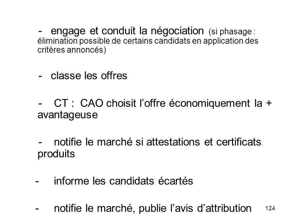 - engage et conduit la négociation (si phasage : élimination possible de certains candidats en application des critères annoncés)