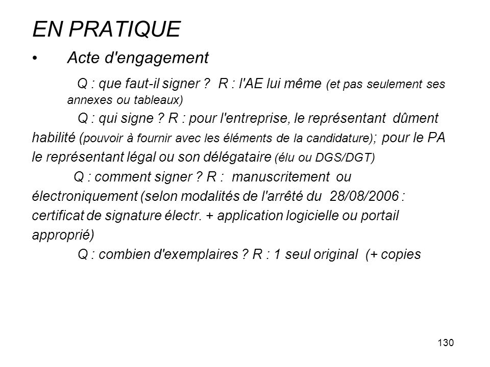 EN PRATIQUE Acte d engagement