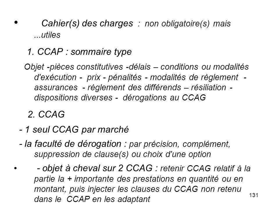 Cahier(s) des charges : non obligatoire(s) mais ...utiles