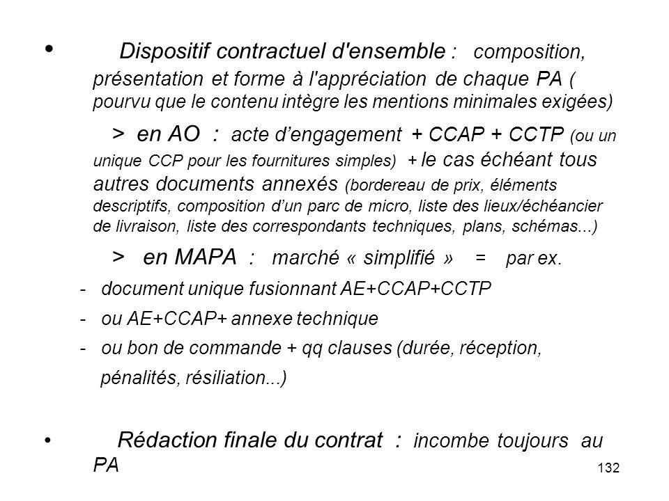 Dispositif contractuel d ensemble : composition, présentation et forme à l appréciation de chaque PA ( pourvu que le contenu intègre les mentions minimales exigées)