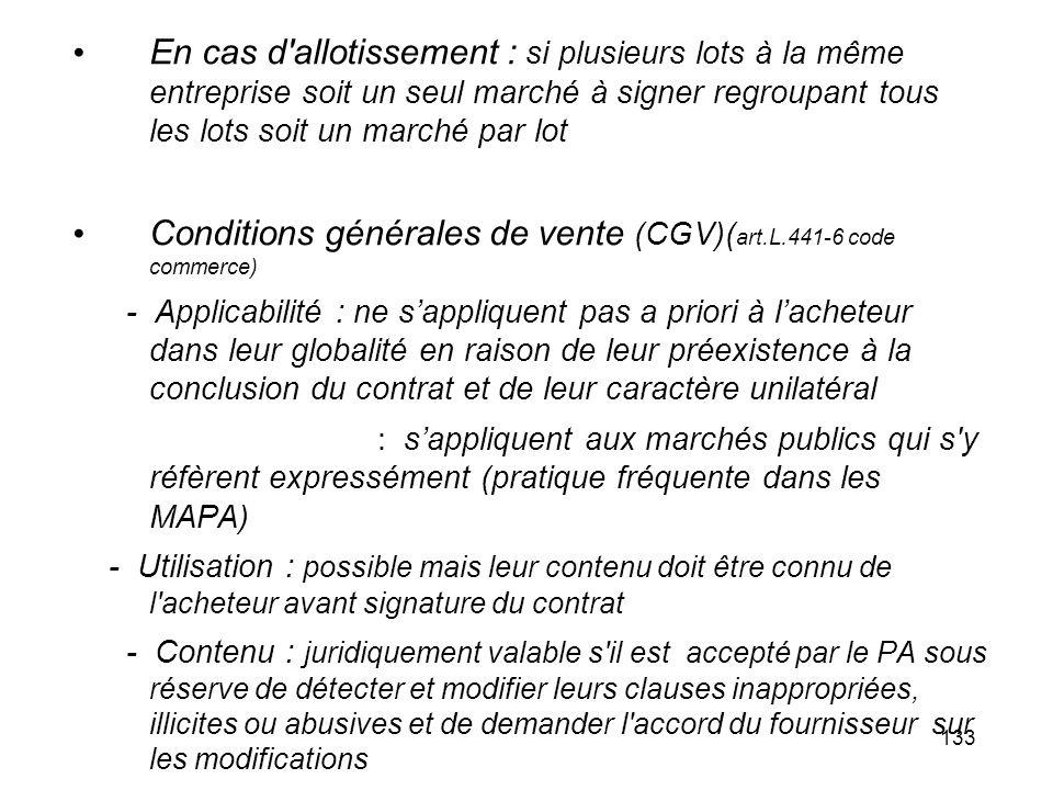 Conditions générales de vente (CGV)(art.L.441-6 code commerce)