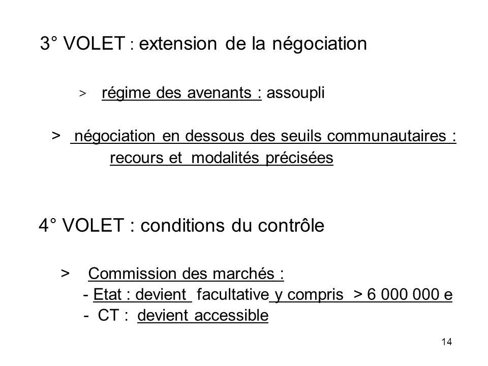3° VOLET : extension de la négociation