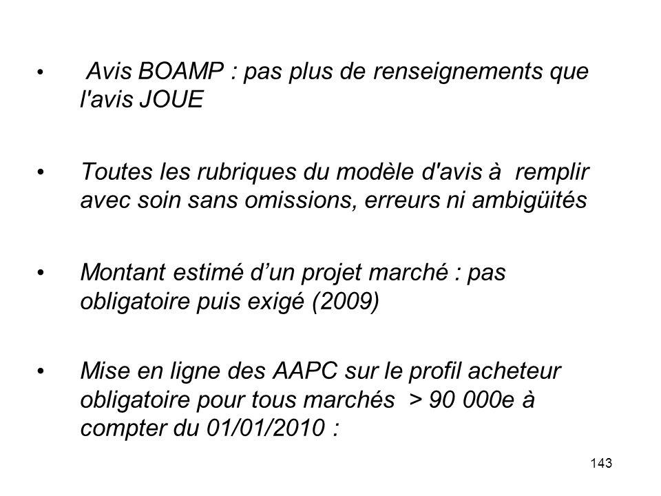 Montant estimé d'un projet marché : pas obligatoire puis exigé (2009)