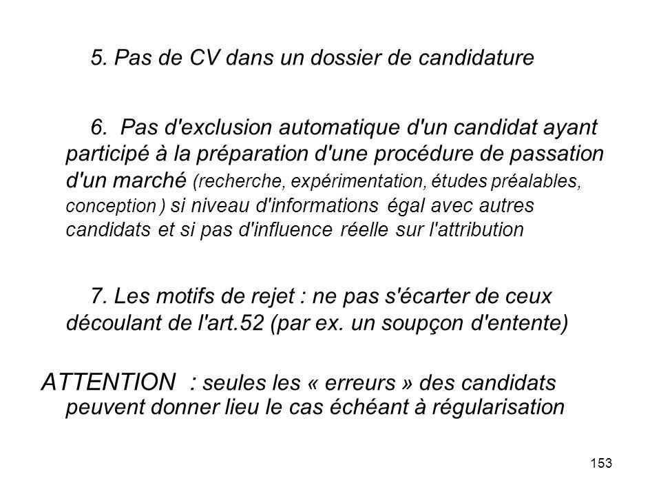5. Pas de CV dans un dossier de candidature