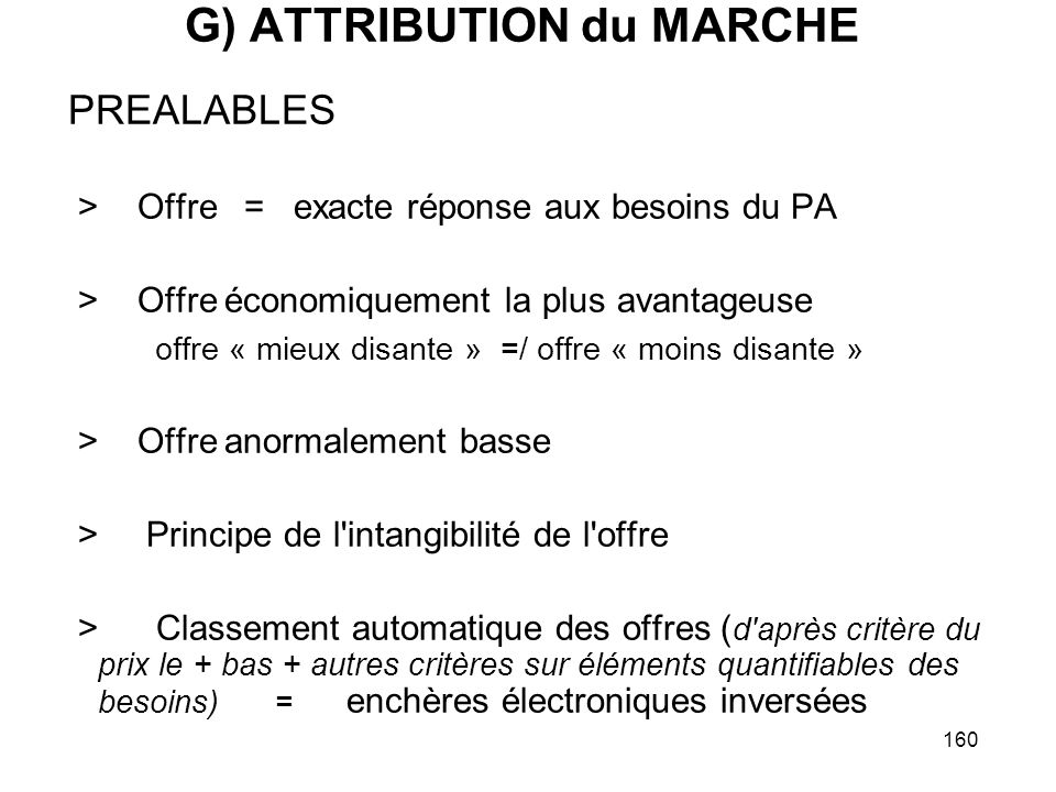 G) ATTRIBUTION du MARCHE