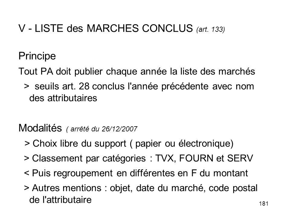 V - LISTE des MARCHES CONCLUS (art. 133) Principe