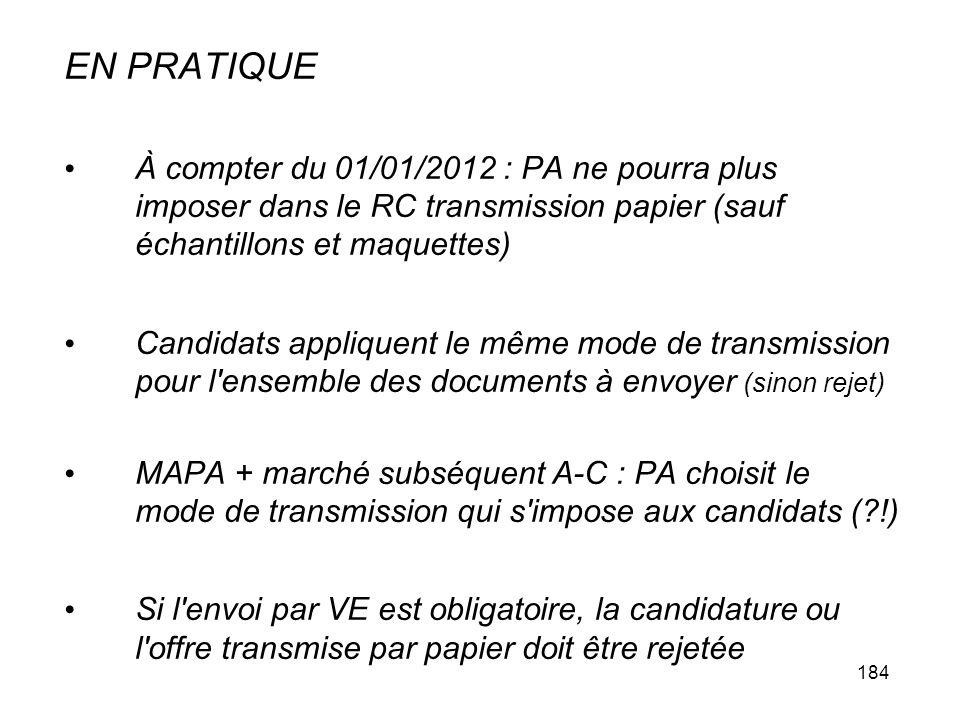 EN PRATIQUE À compter du 01/01/2012 : PA ne pourra plus imposer dans le RC transmission papier (sauf échantillons et maquettes)