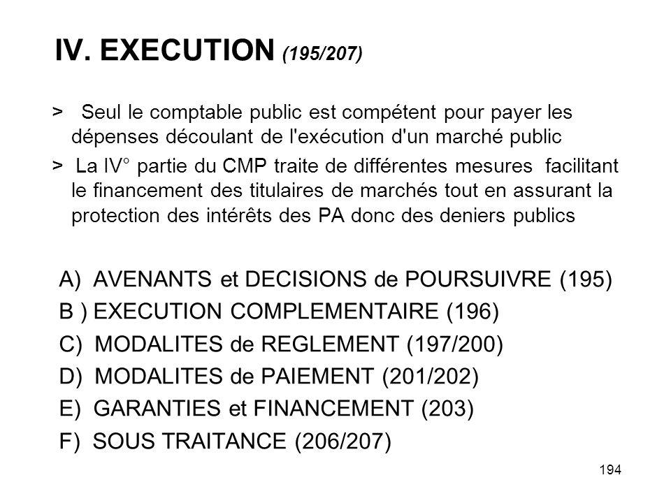 IV. EXECUTION (195/207) A) AVENANTS et DECISIONS de POURSUIVRE (195)