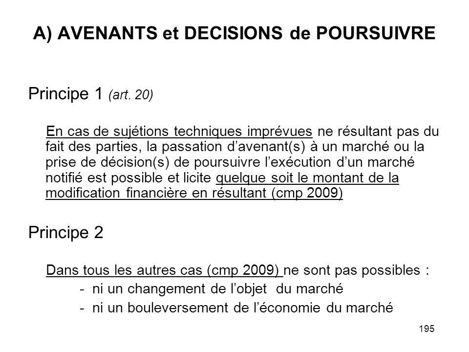 A) AVENANTS et DECISIONS de POURSUIVRE