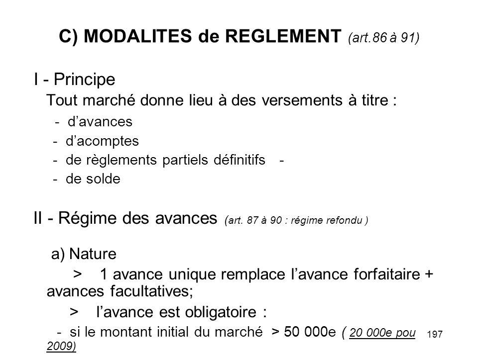C) MODALITES de REGLEMENT (art.86 à 91)