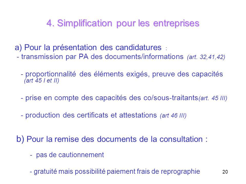 4. Simplification pour les entreprises