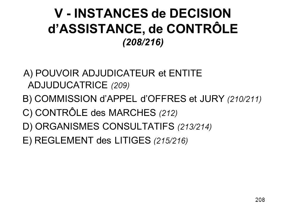 V - INSTANCES de DECISION d'ASSISTANCE, de CONTRÔLE (208/216)