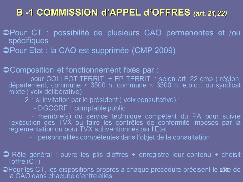 B -1 COMMISSION d'APPEL d'OFFRES (art. 21,22)