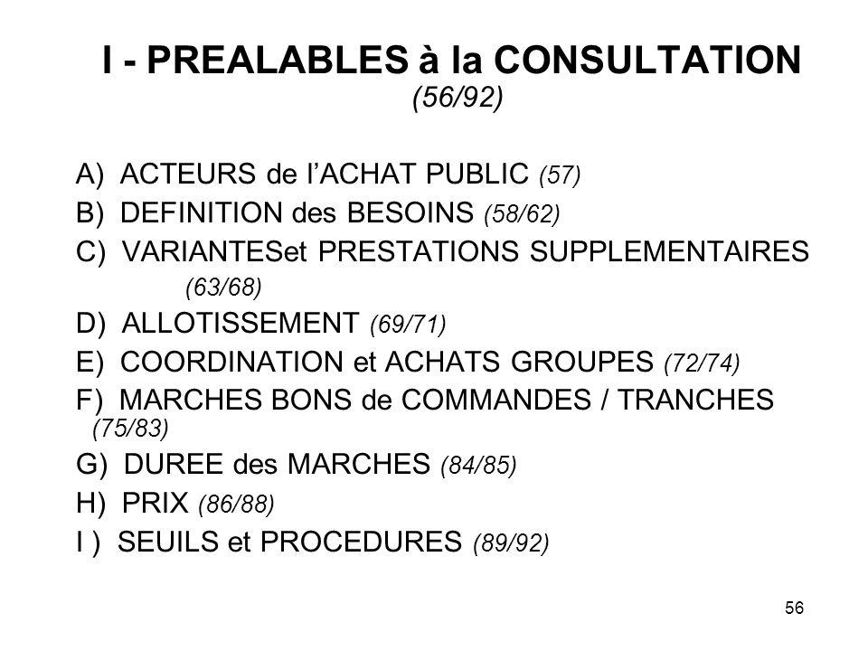 I - PREALABLES à la CONSULTATION (56/92)