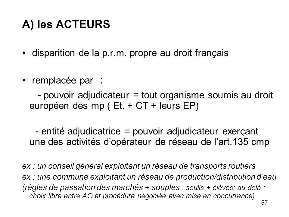A) les ACTEURS disparition de la p.r.m. propre au droit français. remplacée par :
