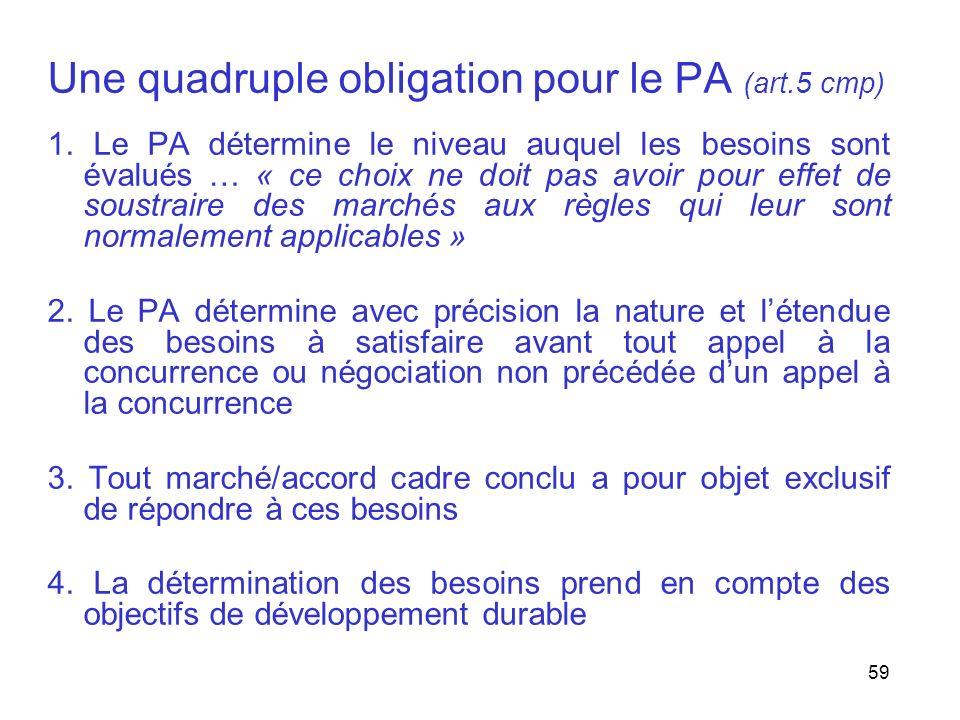 Une quadruple obligation pour le PA (art.5 cmp)