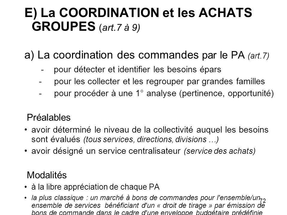 E) La COORDINATION et les ACHATS GROUPES (art.7 à 9)