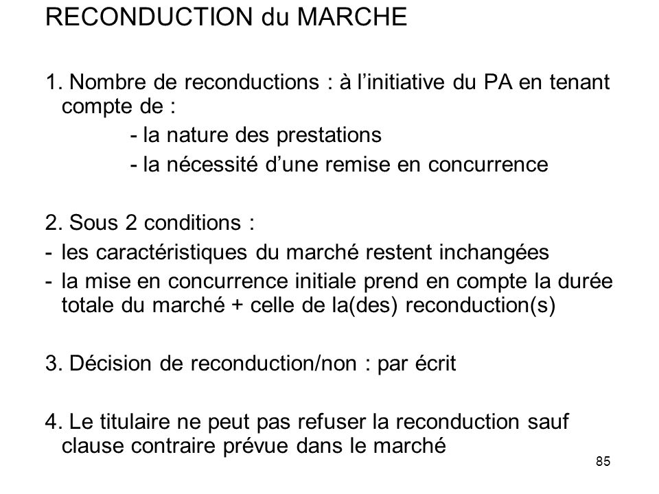 RECONDUCTION du MARCHE