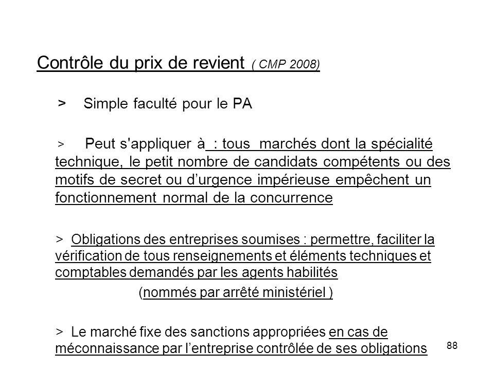 Contrôle du prix de revient ( CMP 2008)