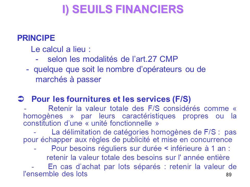 I) SEUILS FINANCIERS PRINCIPE Le calcul a lieu :