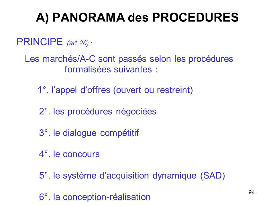 A) PANORAMA des PROCEDURES