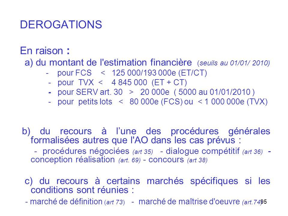 DEROGATIONS En raison :