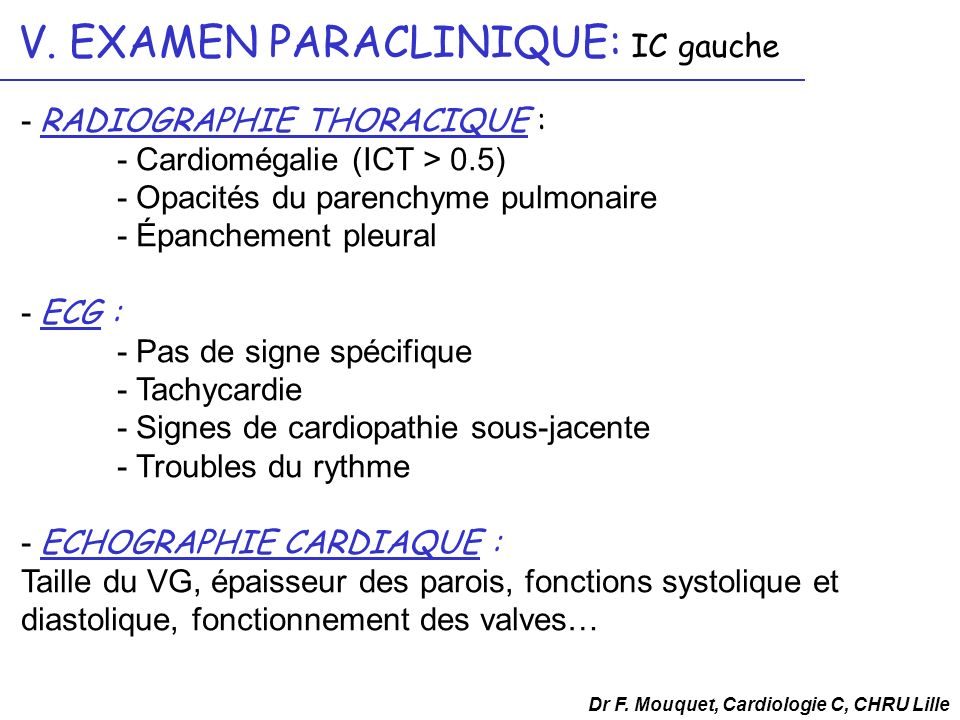 V. EXAMEN PARACLINIQUE: IC gauche