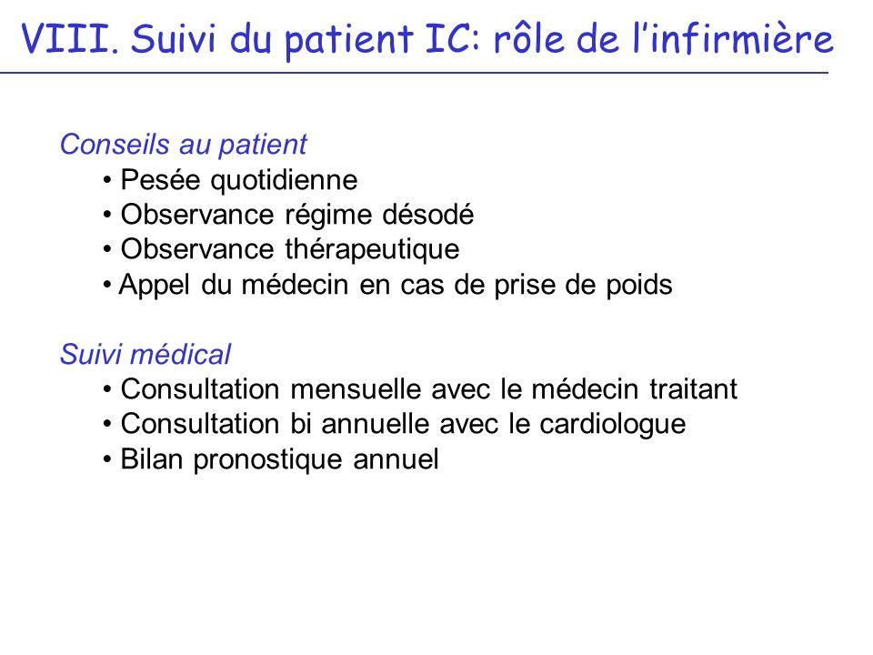 VIII. Suivi du patient IC: rôle de l'infirmière