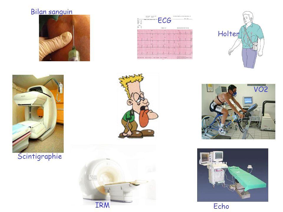 Bilan sanguin ECG Holter VO2 Scintigraphie IRM Echo