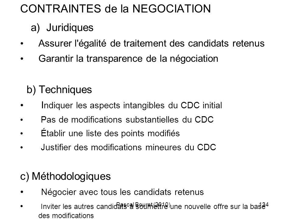 a) Juridiques CONTRAINTES de la NEGOCIATION b) Techniques