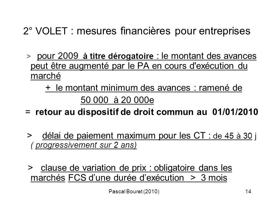 2° VOLET : mesures financières pour entreprises