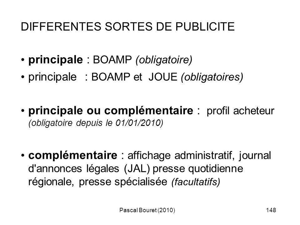 DIFFERENTES SORTES DE PUBLICITE principale : BOAMP (obligatoire)