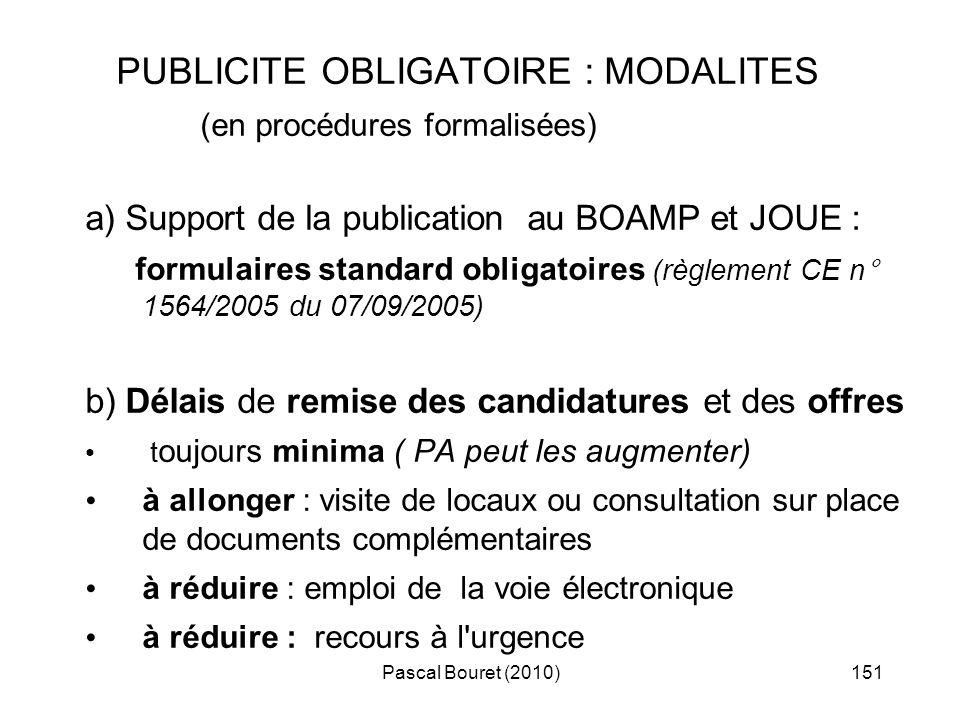 PUBLICITE OBLIGATOIRE : MODALITES
