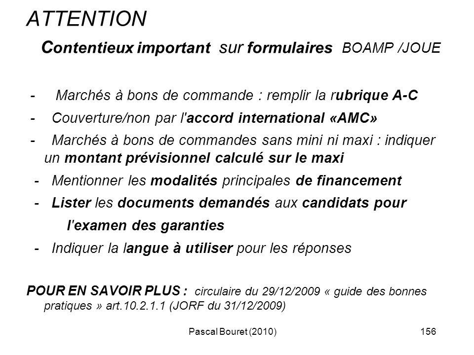 ATTENTION Contentieux important sur formulaires BOAMP /JOUE