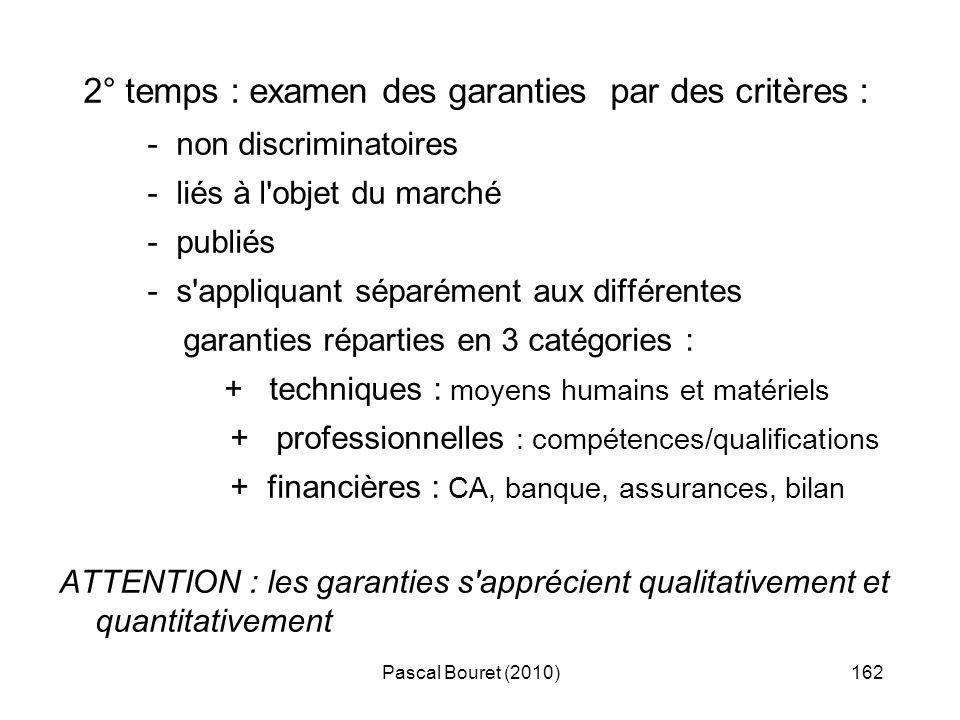 2° temps : examen des garanties par des critères :