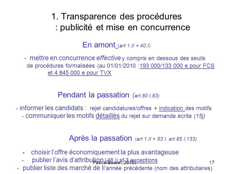1. Transparence des procédures : publicité et mise en concurrence