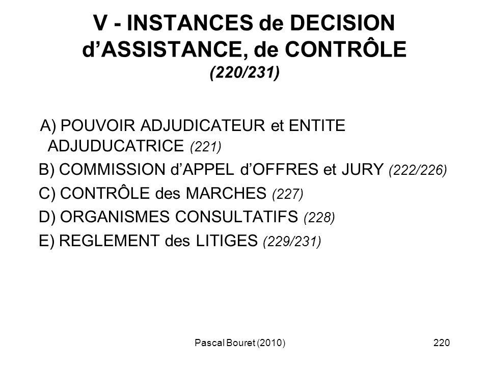 V - INSTANCES de DECISION d'ASSISTANCE, de CONTRÔLE (220/231)