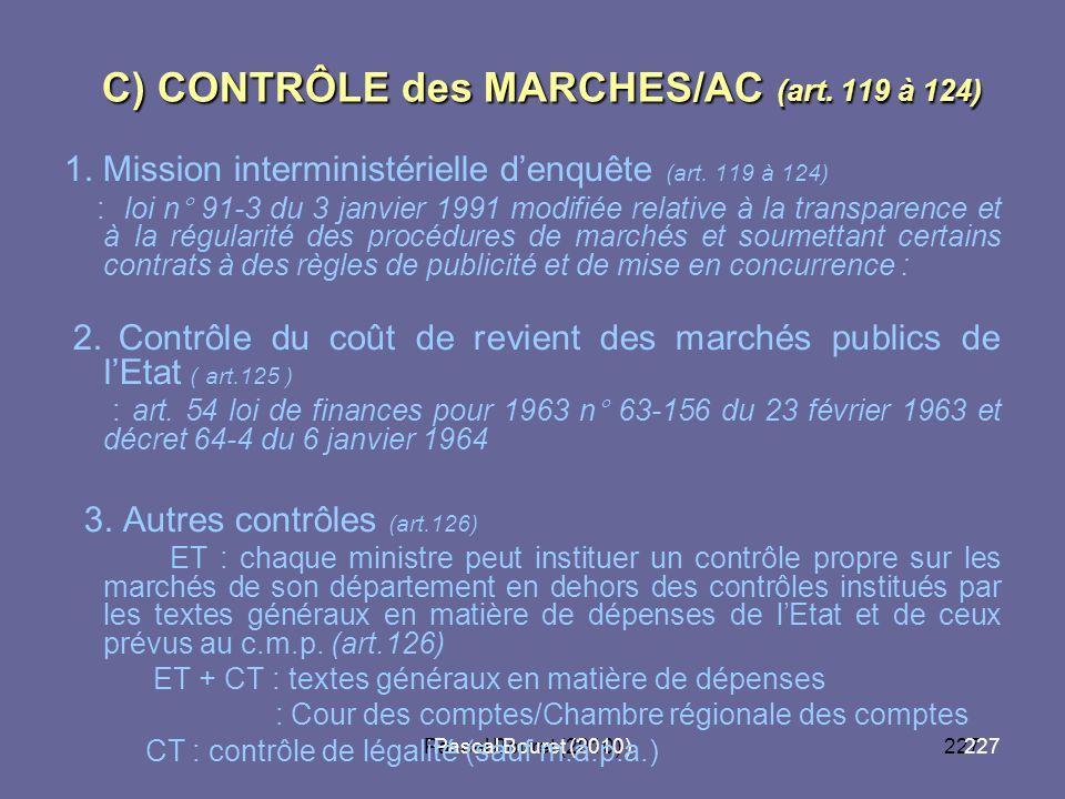 C) CONTRÔLE des MARCHES/AC (art. 119 à 124)