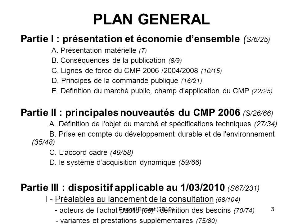 PLAN GENERAL Partie I : présentation et économie d'ensemble (S/6/25)
