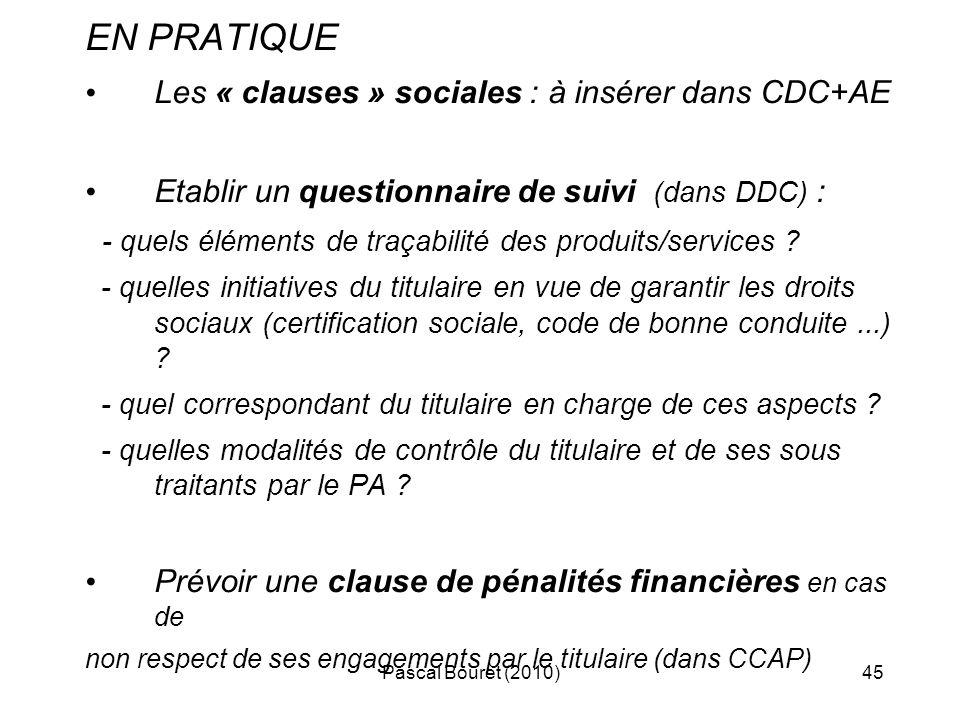 EN PRATIQUE Les « clauses » sociales : à insérer dans CDC+AE