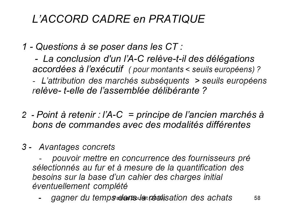 L'ACCORD CADRE en PRATIQUE 1 - Questions à se poser dans les CT :
