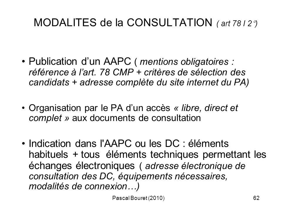 MODALITES de la CONSULTATION ( art 78 I 2°)