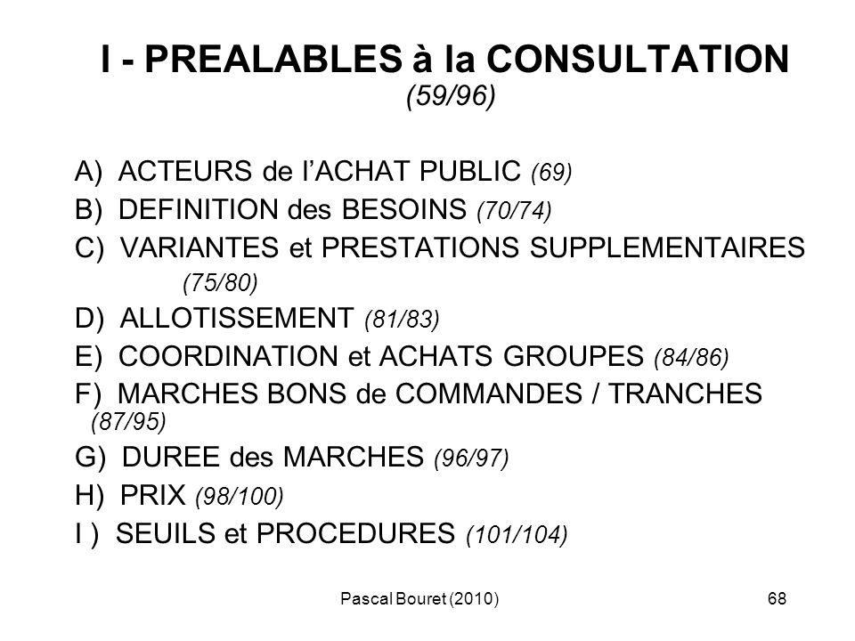 I - PREALABLES à la CONSULTATION (59/96)